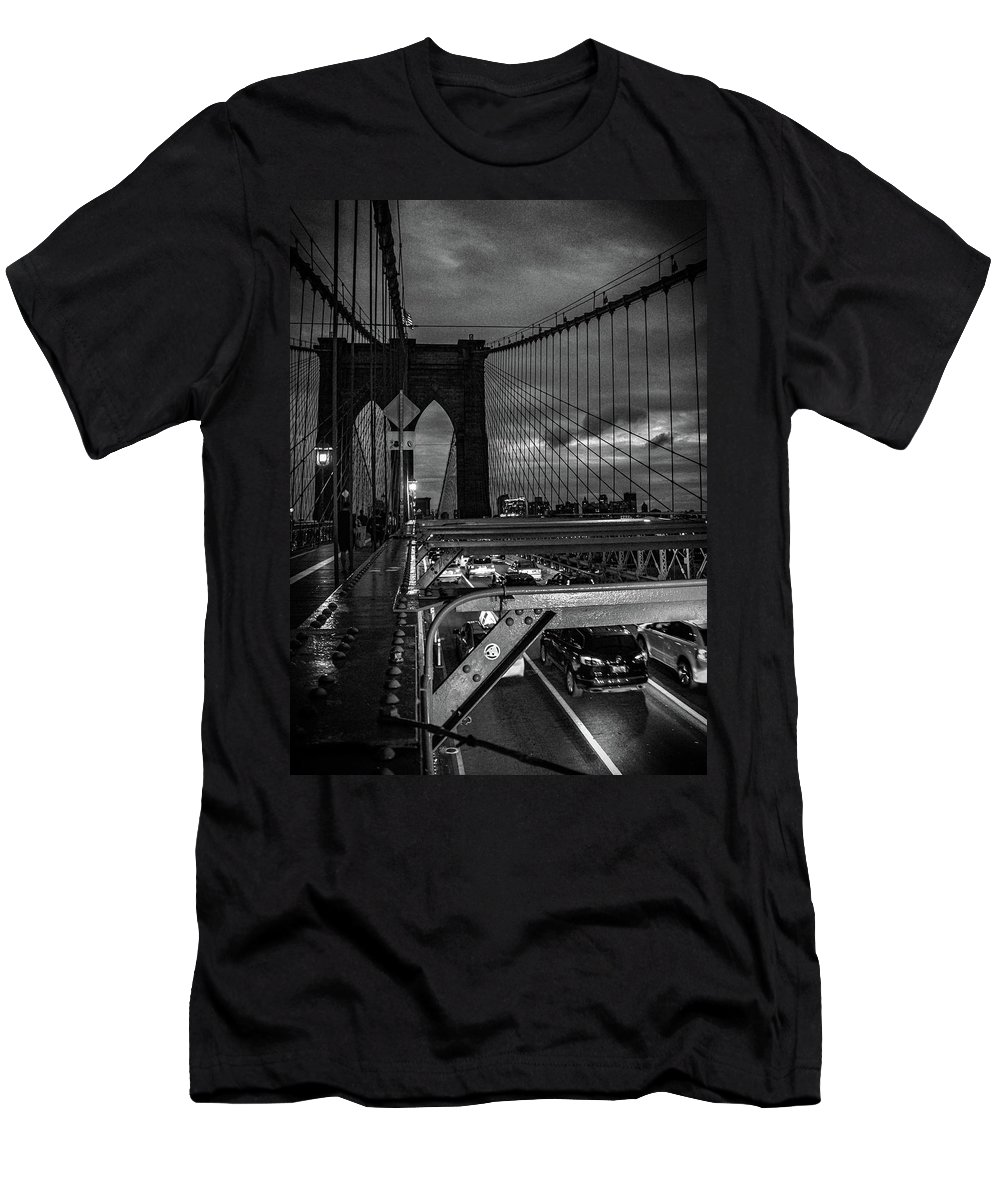 Nyc Men's T-Shirt (Athletic Fit) featuring the photograph Brooklyn Bridge by Martin Newman