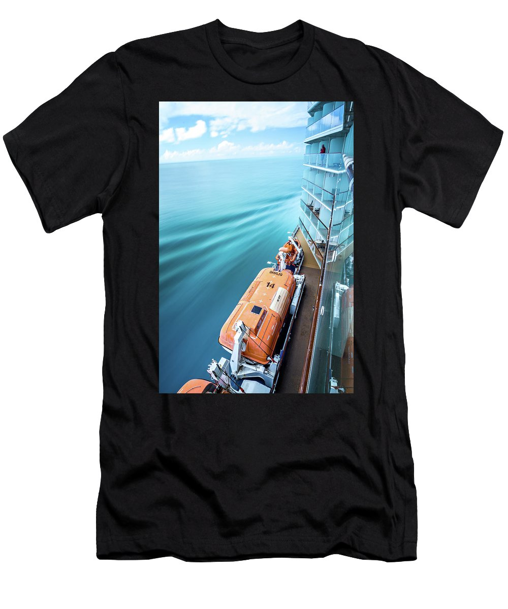 Ship Men's T-Shirt (Athletic Fit) featuring the photograph Browsing Around Cruise Ship On The Pacific Ocean by Alex Grichenko