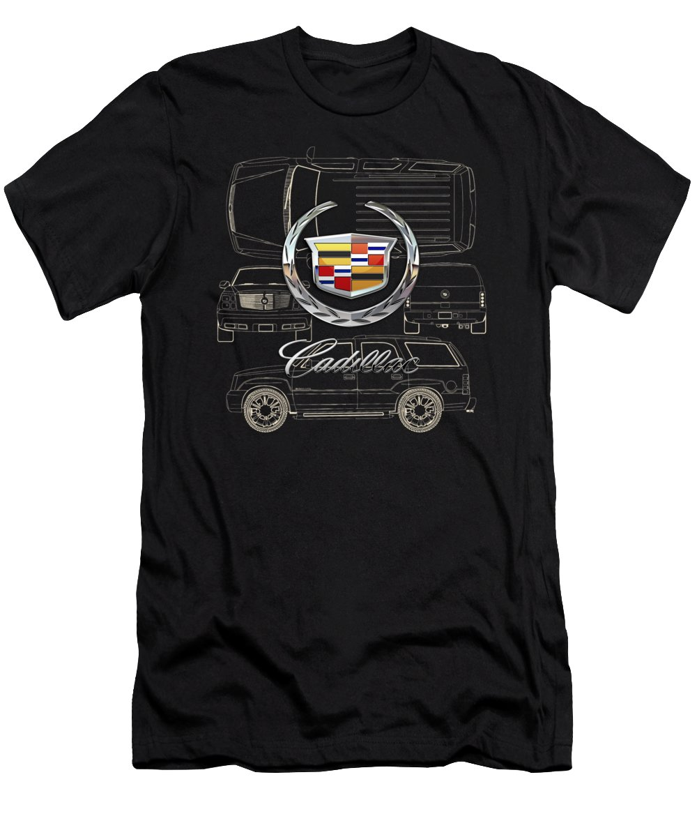 'wheels Of Fortune' By Serge Averbukh Men's T-Shirt (Athletic Fit) featuring the photograph Cadillac 3 D Badge Over Cadillac Escalade Blueprint by Serge Averbukh
