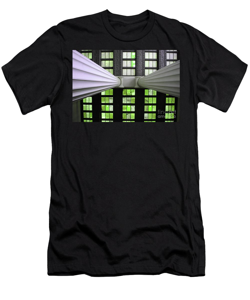 Lincoln Men's T-Shirt (Athletic Fit) featuring the photograph 2 Column Stain Green by Jost Houk