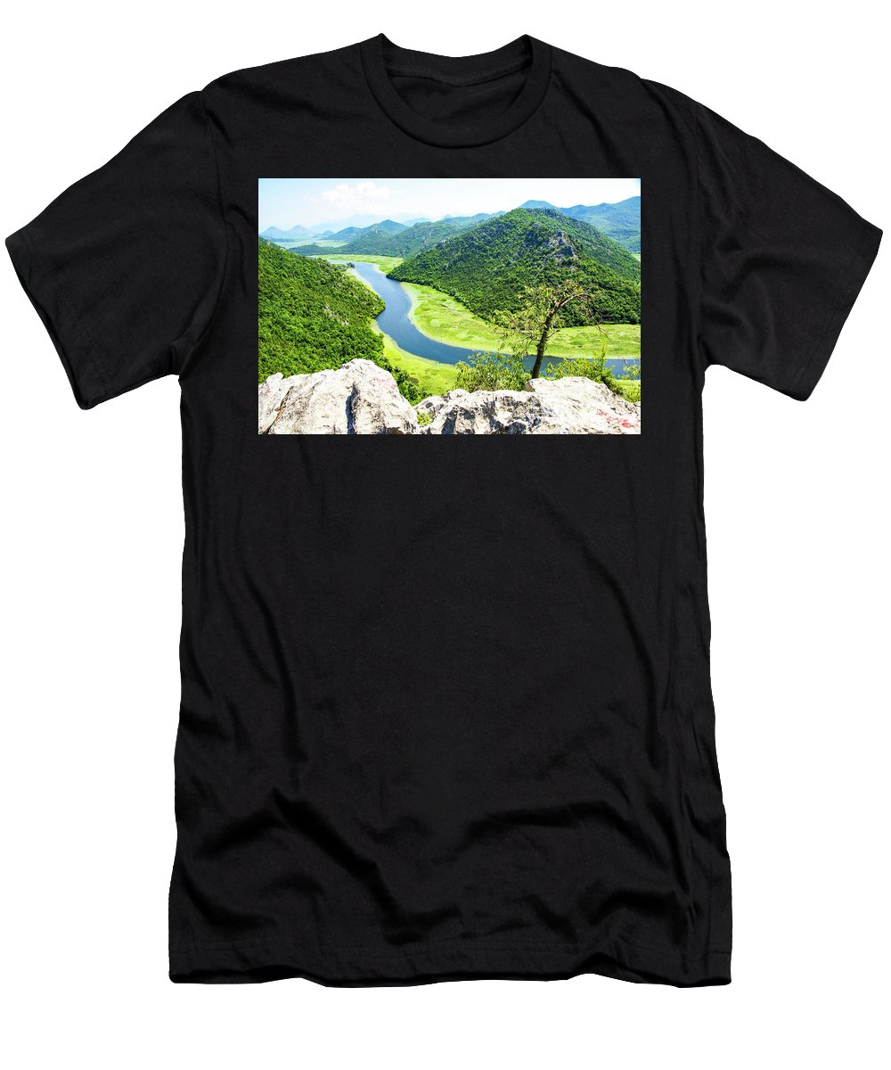 Crnojevic Men's T-Shirt (Athletic Fit) featuring the photograph Crnojevic River, Montenegro by Ruth Hofshi