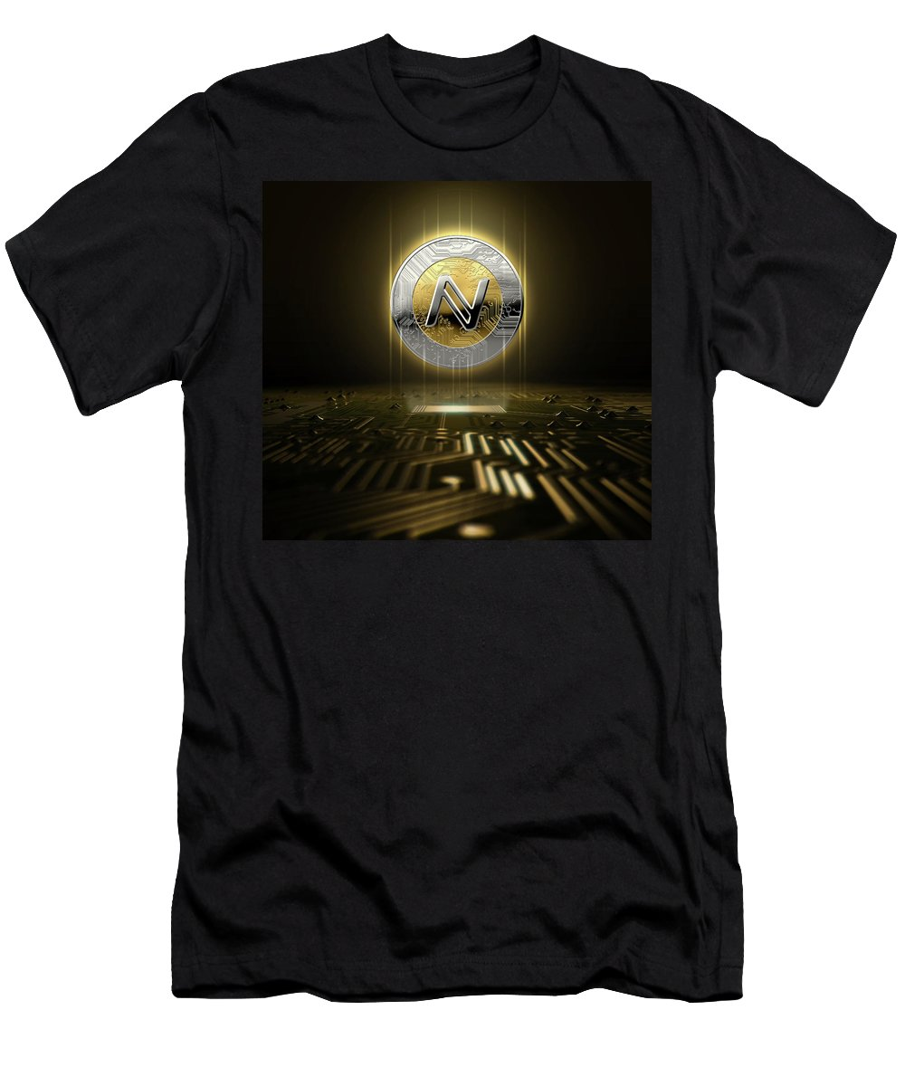 Namecoin T-Shirt featuring the digital art Cryptocurrency And Circuit Board by Allan Swart