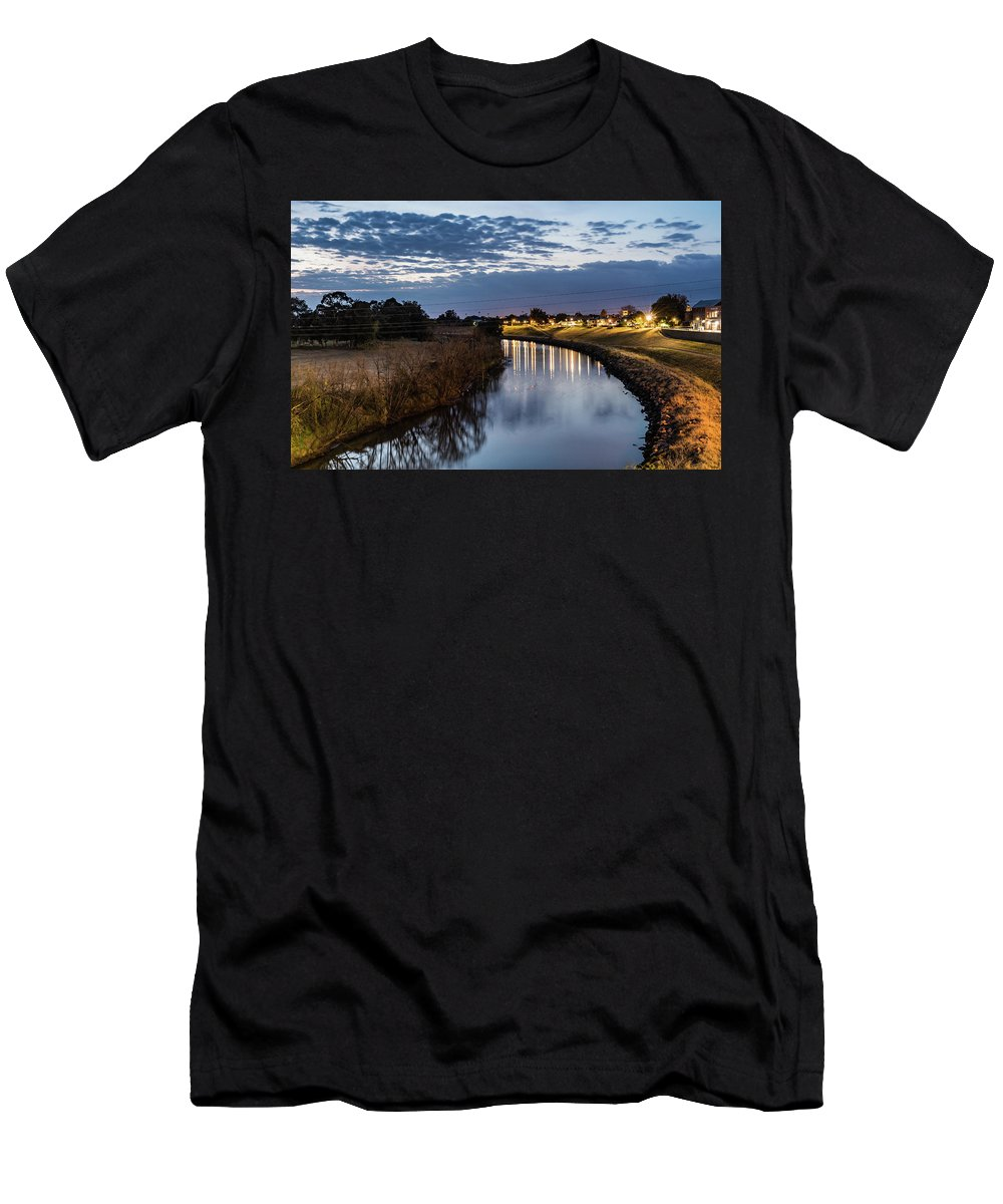 Australia Men's T-Shirt (Athletic Fit) featuring the photograph Dawn Over The Town River by Merrillie Redden