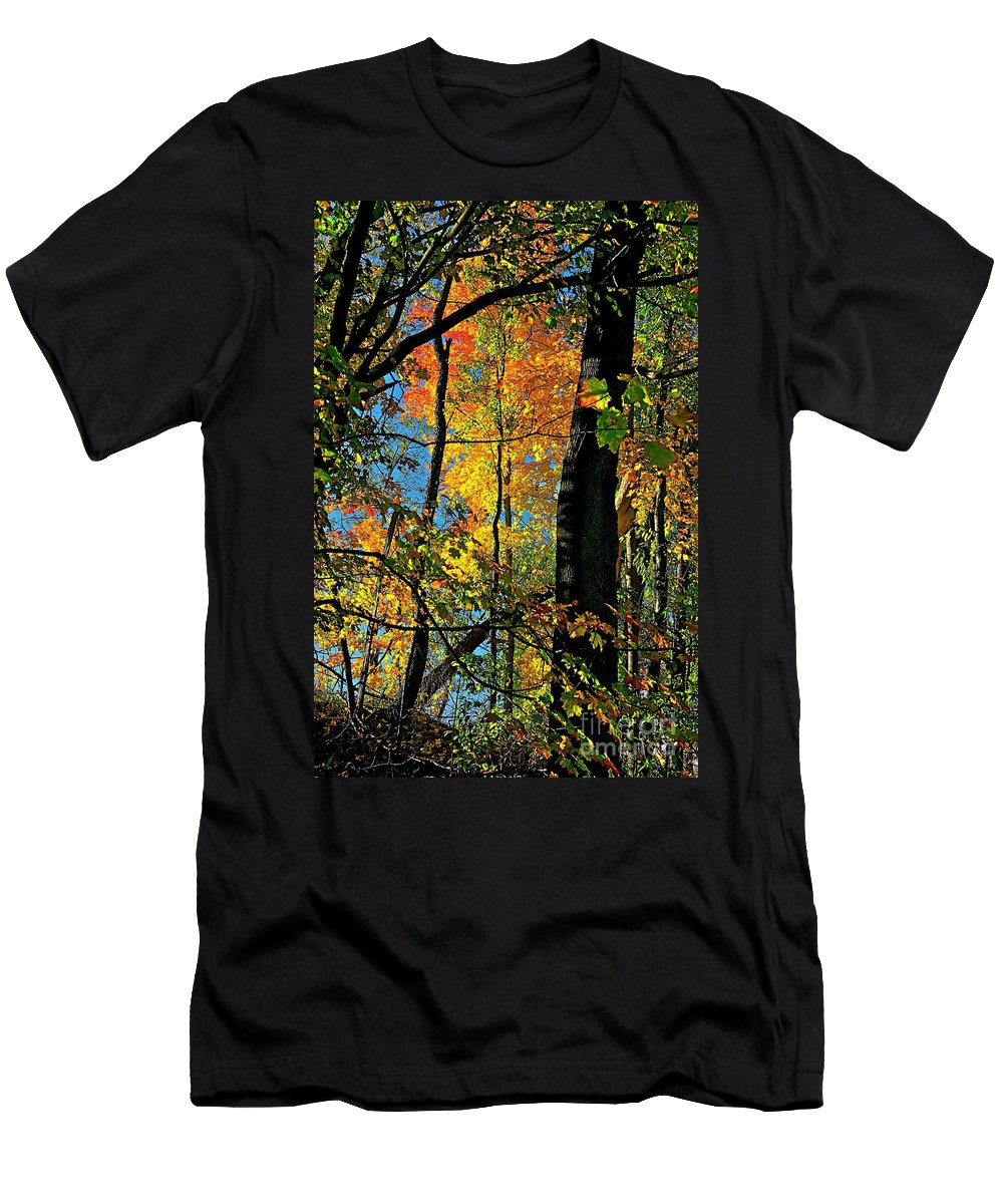Fall Men's T-Shirt (Athletic Fit) featuring the photograph Fall Fire Works by Robert Pearson