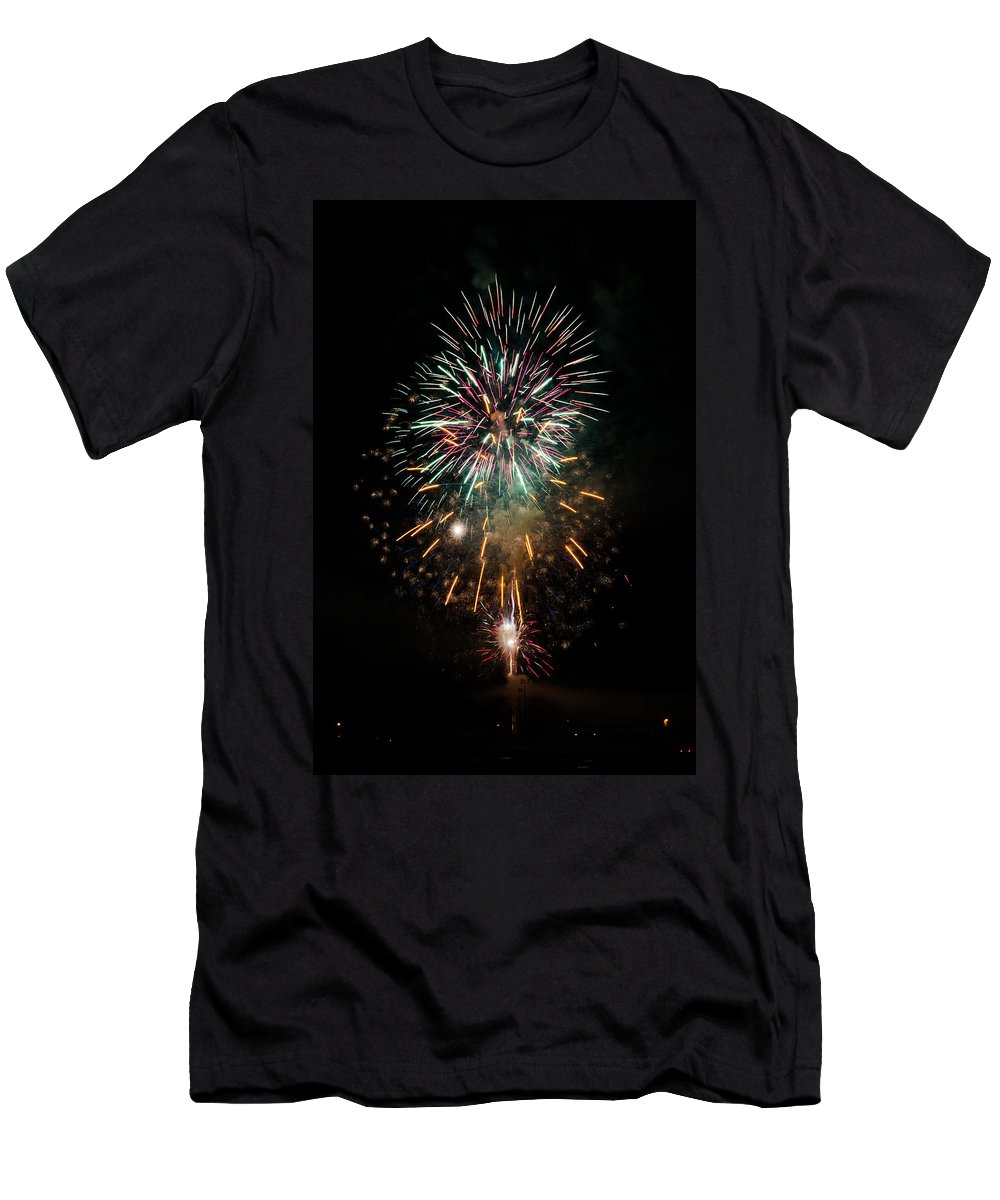 Fireworks Men's T-Shirt (Athletic Fit) featuring the photograph Fireworks by Jan M Holden