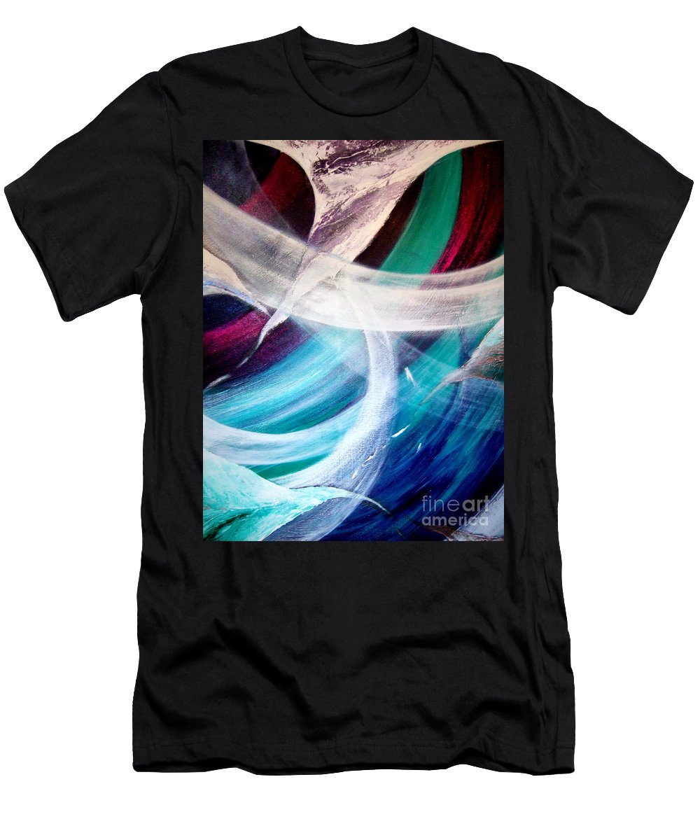 Gaia Men's T-Shirt (Athletic Fit) featuring the painting Gaia Symphony by Kumiko Mayer