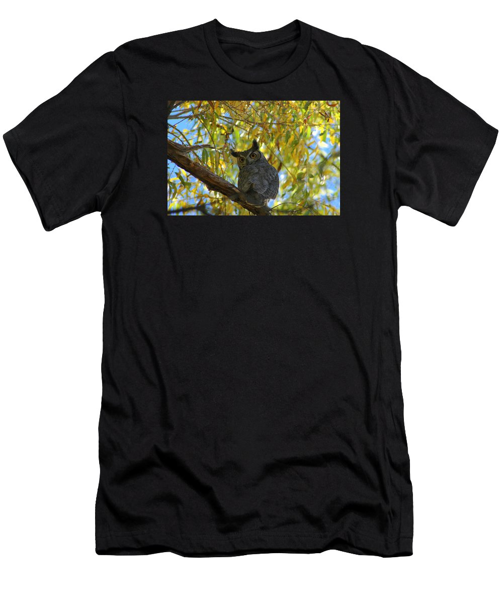 Large Men's T-Shirt (Athletic Fit) featuring the photograph Great Horned Owl by Teresa Stallings