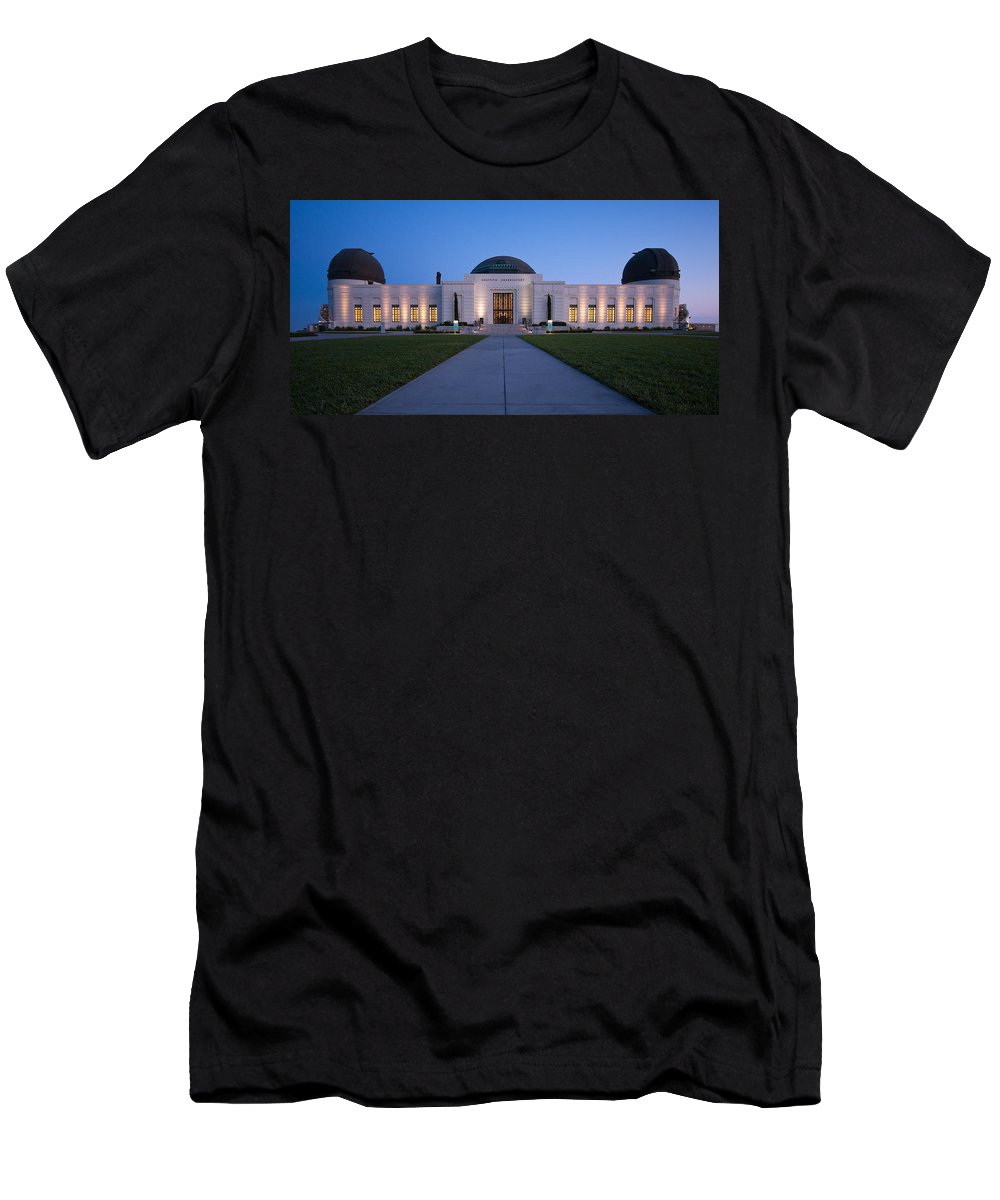3scape Men's T-Shirt (Athletic Fit) featuring the photograph Griffith Observatory by Adam Romanowicz