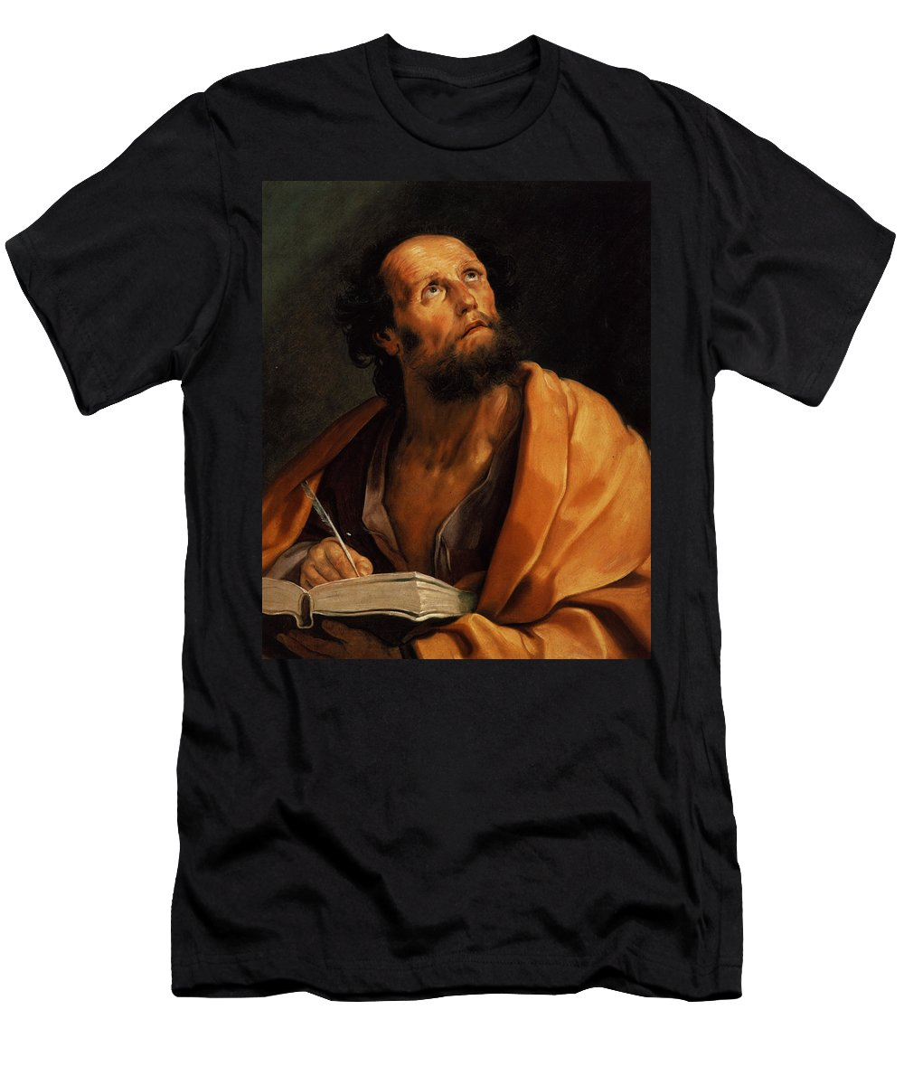 Saint Luke - Guido Reni Men's T-Shirt (Athletic Fit) featuring the painting Guido Reni by MotionAge Designs