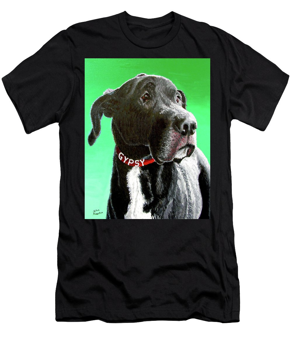 Dog Portrait Men's T-Shirt (Athletic Fit) featuring the painting Gypsy by Stan Hamilton