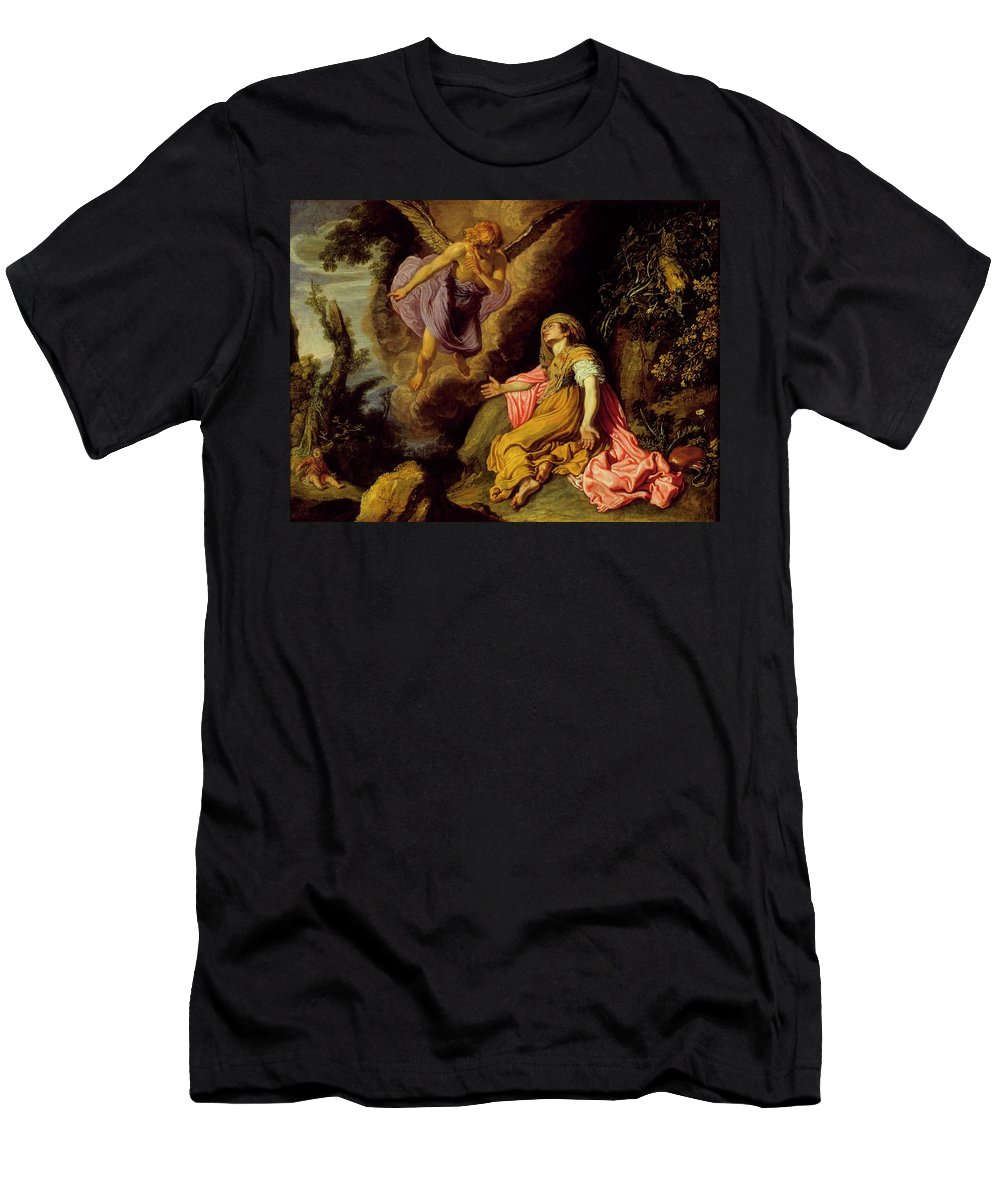 Pieter Lastman (holland Men's T-Shirt (Athletic Fit) featuring the painting Hagar And The Angel by MotionAge Designs