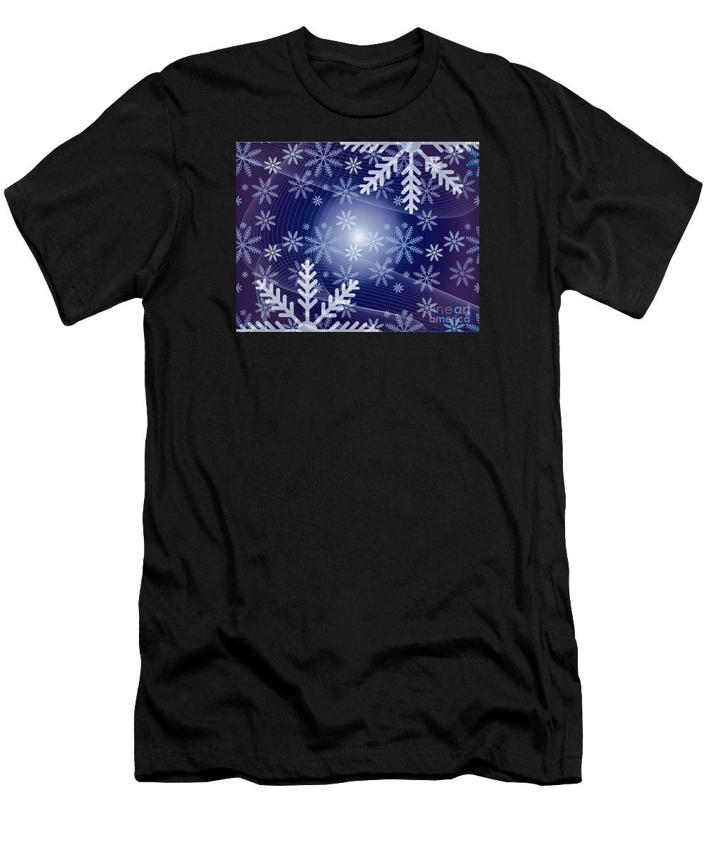 Snow Men's T-Shirt (Athletic Fit) featuring the photograph Snowflake by Sebastien Coell