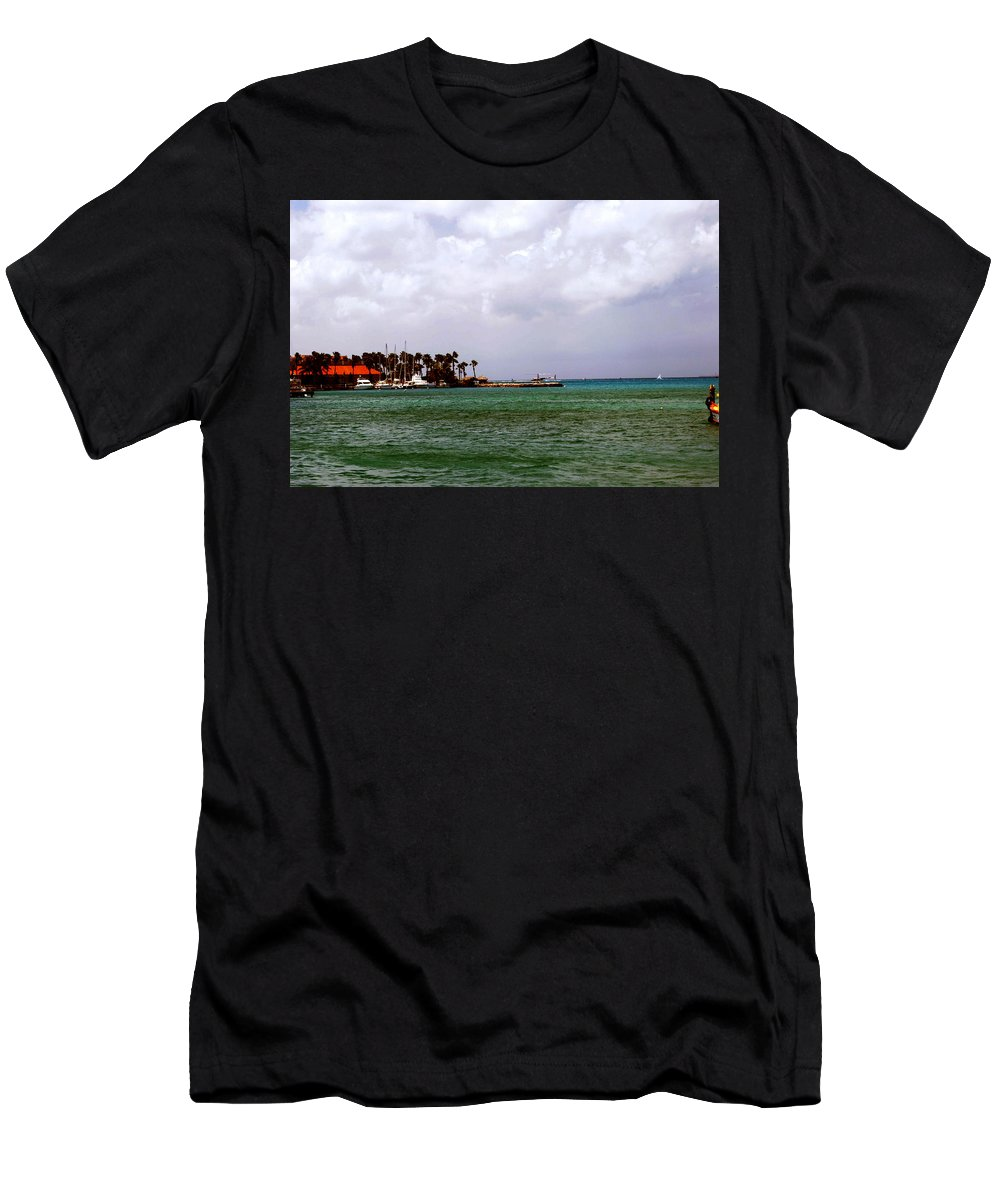 Harbor Men's T-Shirt (Athletic Fit) featuring the photograph Island Harbor by Gary Wonning