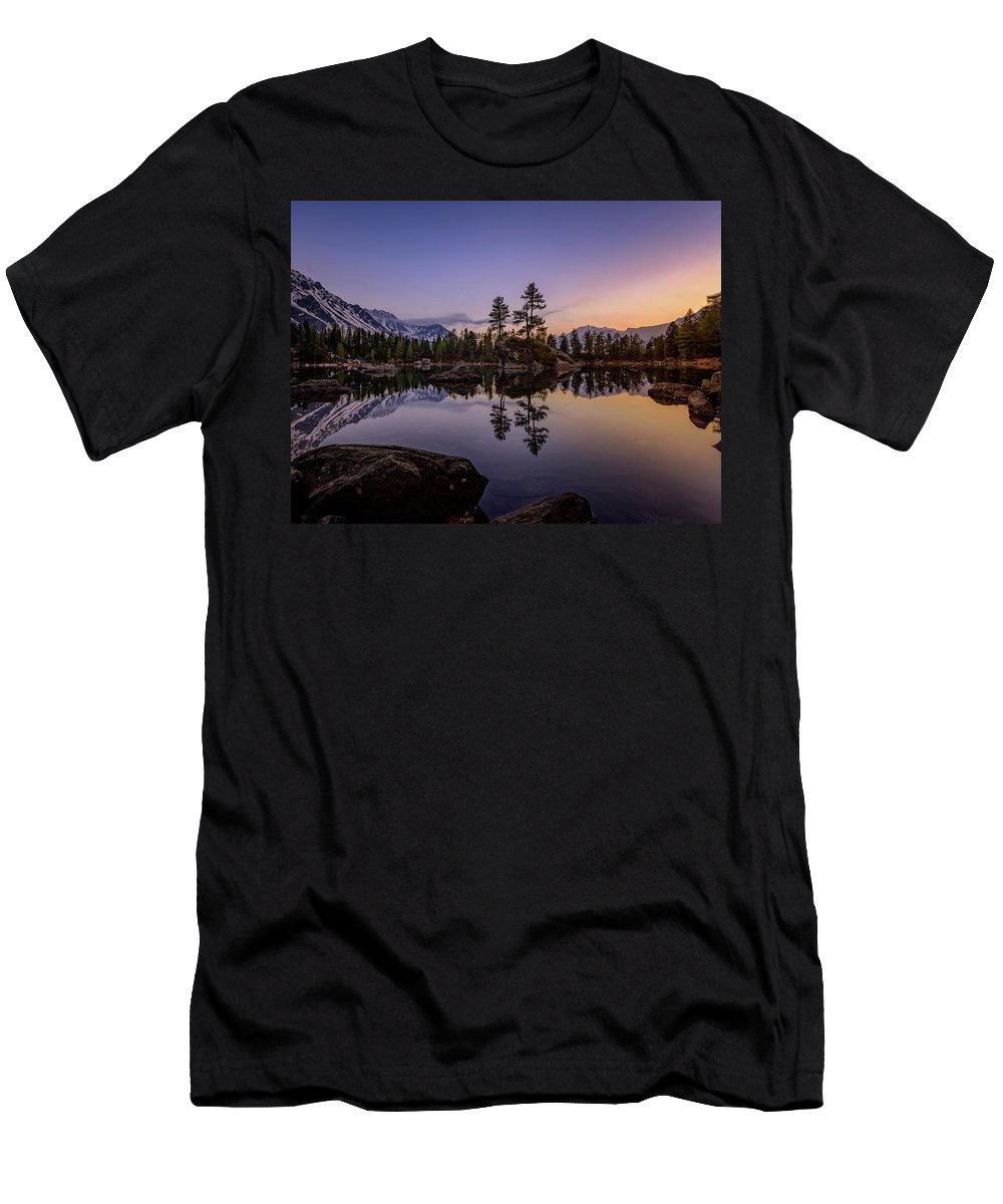 Landscape Men's T-Shirt (Athletic Fit) featuring the photograph Lago Di Saoseo by Nedjat Nuhi