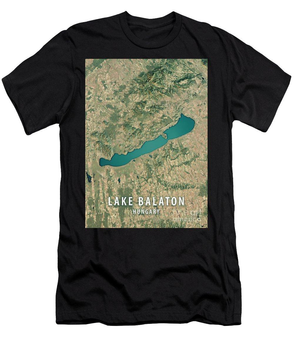 Lake Balaton Men's T-Shirt (Athletic Fit) featuring the digital art Lake Balaton 3d Render Satellite View Topographic Map by Frank Ramspott