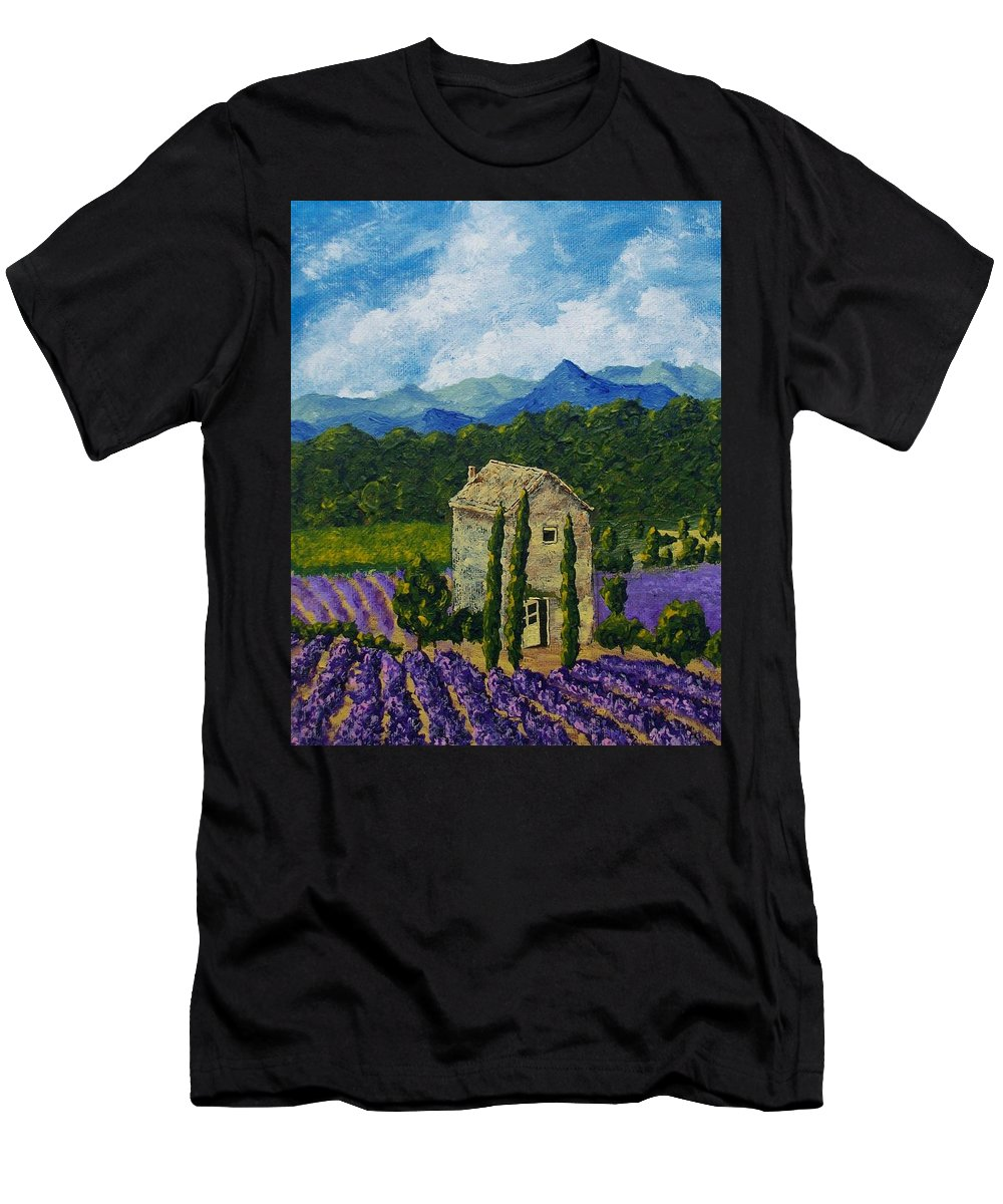 Art & Collectibles Painting Acrylic Provence France Mediterranean Art French Countryside Landscape Painting Lavender Fields Mountain Scenery Hillside Painting Tree Artwork Purple Home Decor Modern Green Design Yellow Artwork Blue Modern Design Bright Painting Men's T-Shirt (Athletic Fit) featuring the painting Lavender Farm by Mike Kraus