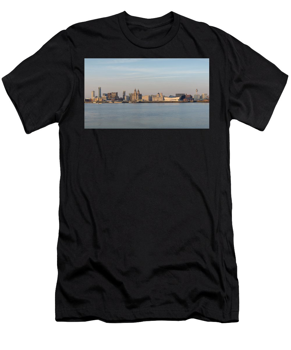 Liverpool Men's T-Shirt (Athletic Fit) featuring the photograph Liverpool Skyline by Ai P Vardhanabindu