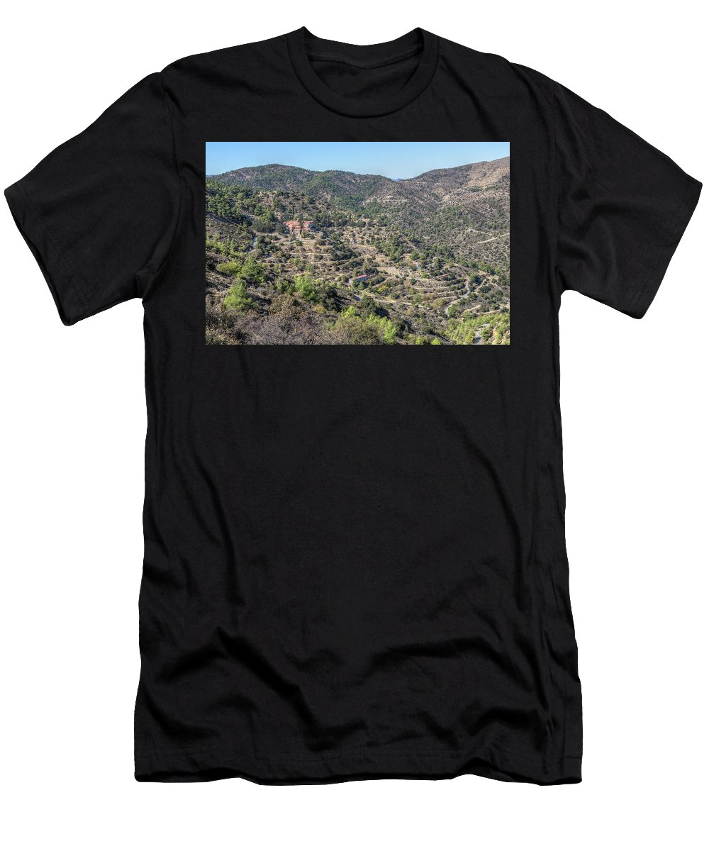 Machairas Monastery Men's T-Shirt (Athletic Fit) featuring the photograph Machairas Monastery - Cyprus by Joana Kruse