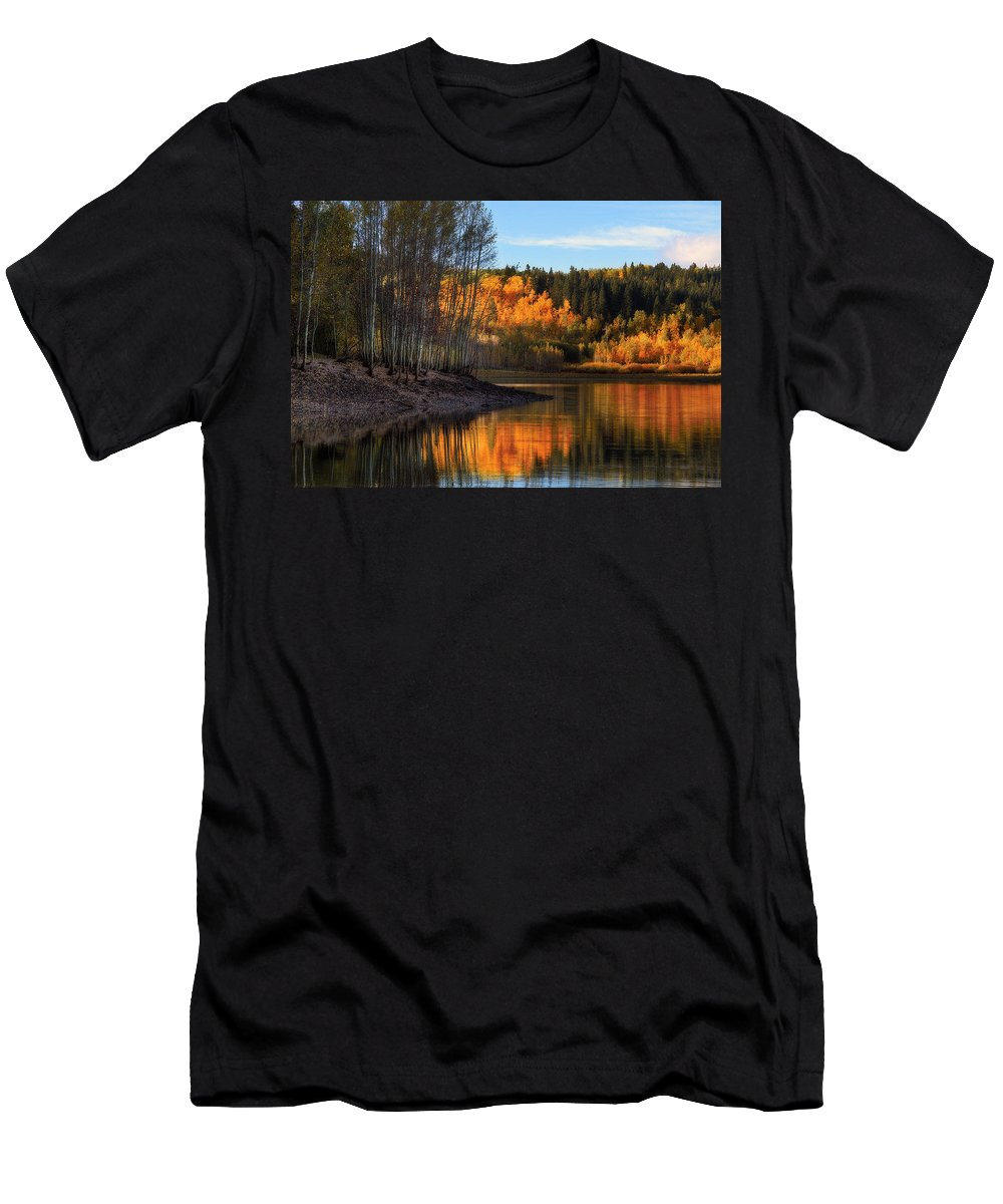 Autumn Men's T-Shirt (Athletic Fit) featuring the photograph Mclellan Lake by Douglas Pulsipher