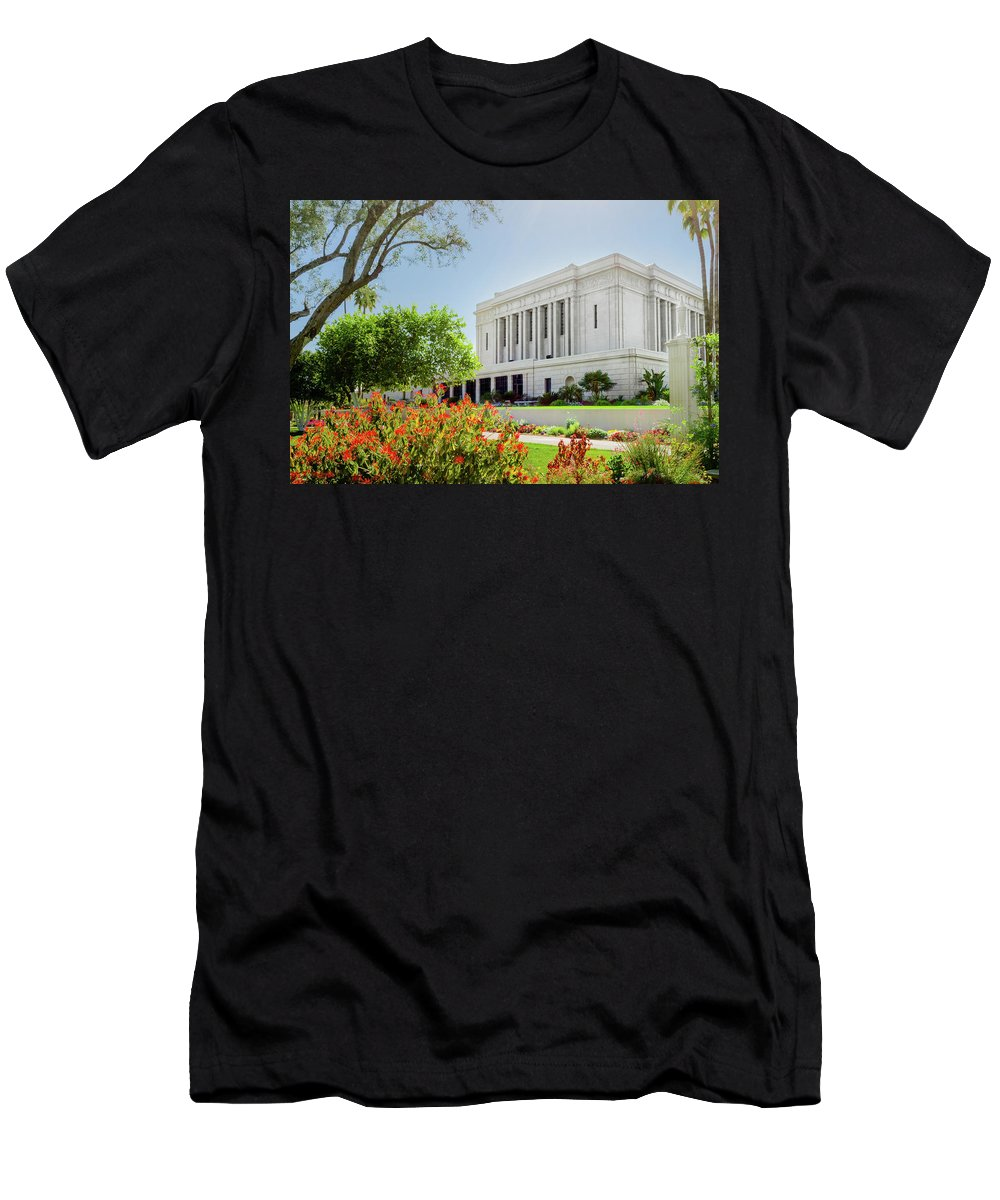 Mesa Temple Photography Men's T-Shirt (Athletic Fit) featuring the photograph Mesa Temple Sun Glow by La Rae Roberts