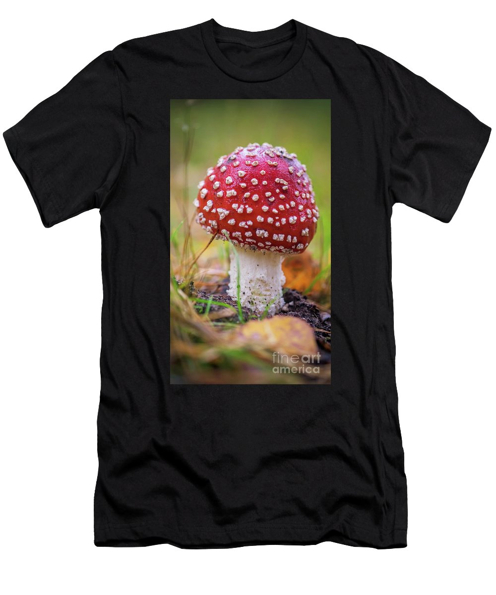 Autumn Men's T-Shirt (Athletic Fit) featuring the photograph Mushrooms by Brothers Beerens