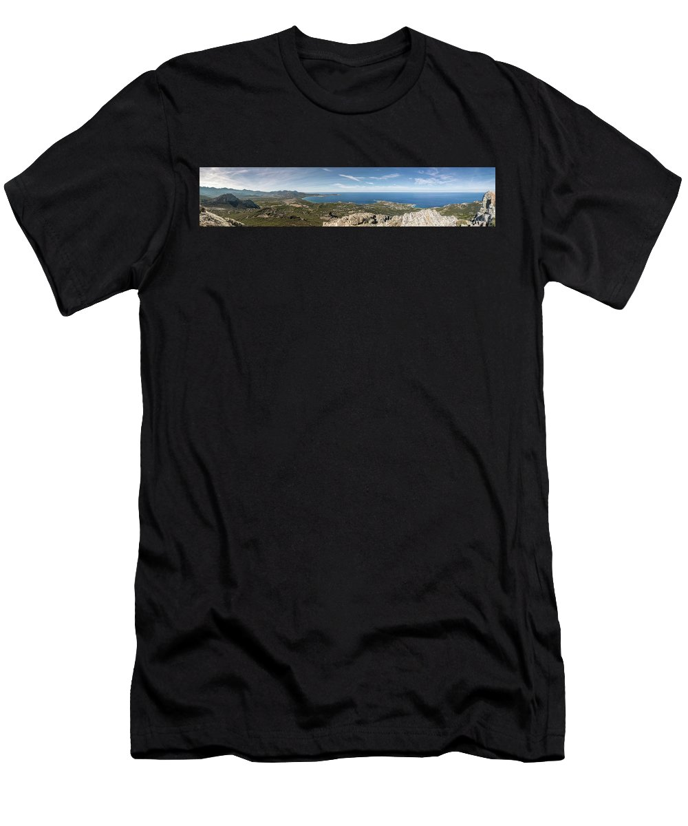 Ancient Men's T-Shirt (Athletic Fit) featuring the photograph Panoramic View Across Calvi Bay And Revellata In Corsica by Jon Ingall