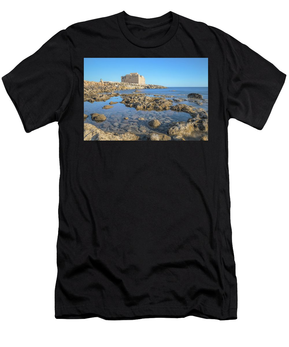 Paphos Castle Men's T-Shirt (Athletic Fit) featuring the photograph Paphos - Cyprus by Joana Kruse