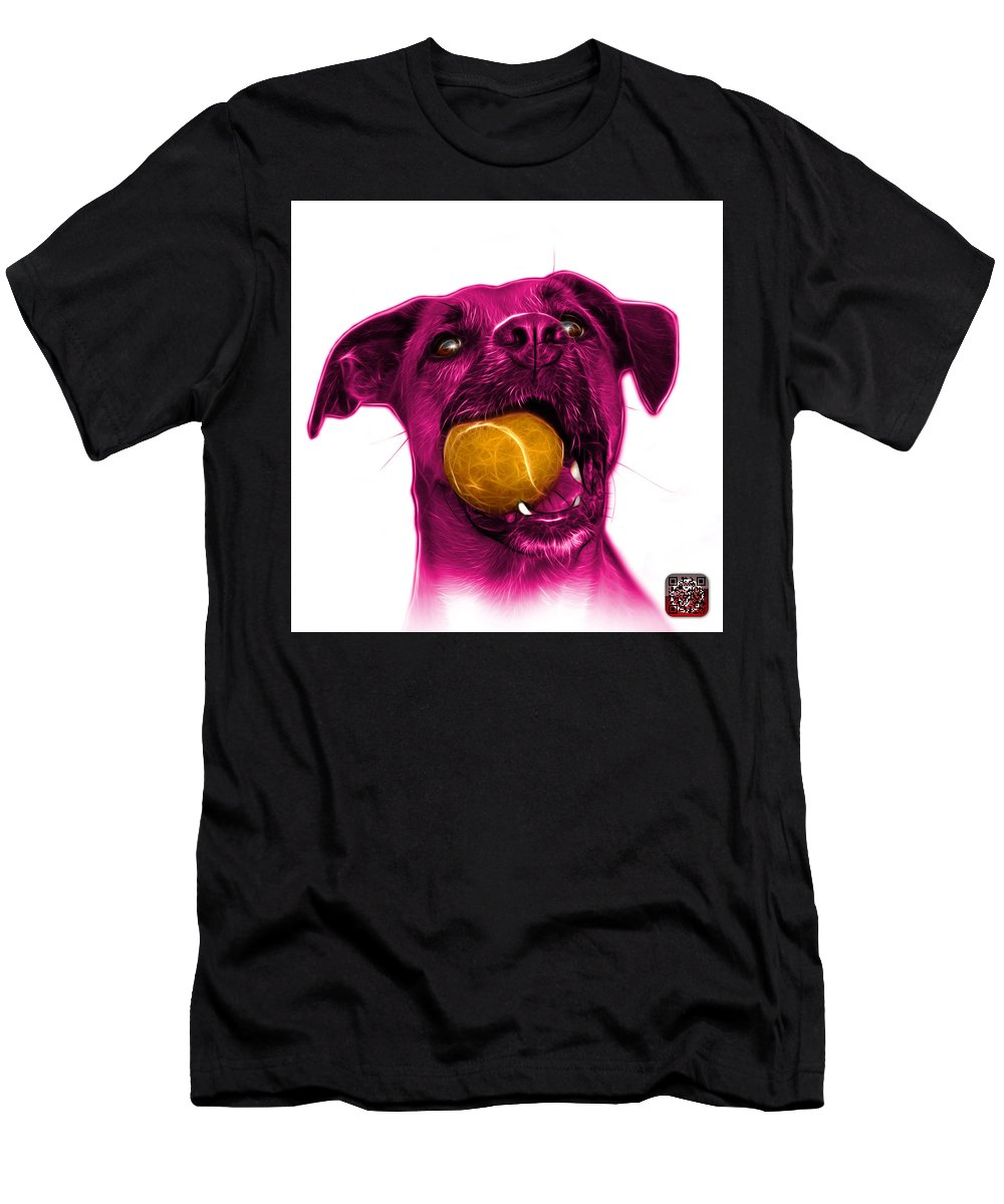 Dog Men's T-Shirt (Athletic Fit) featuring the mixed media Pink Boxer Mix Dog Art - 8173 - Wb by James Ahn
