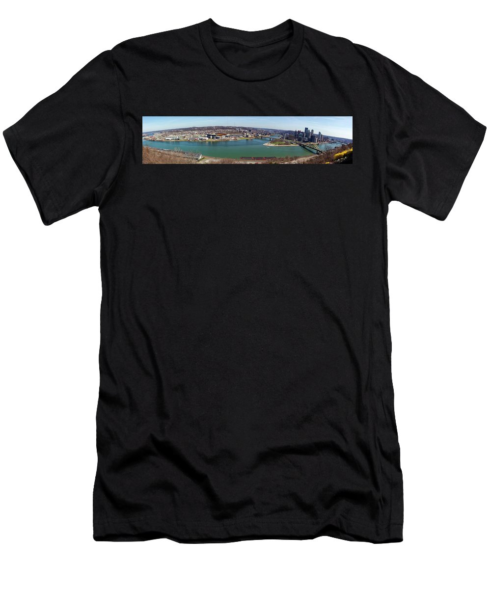 Panorama Men's T-Shirt (Athletic Fit) featuring the photograph Pittsburgh Panorama by Noel Baebler