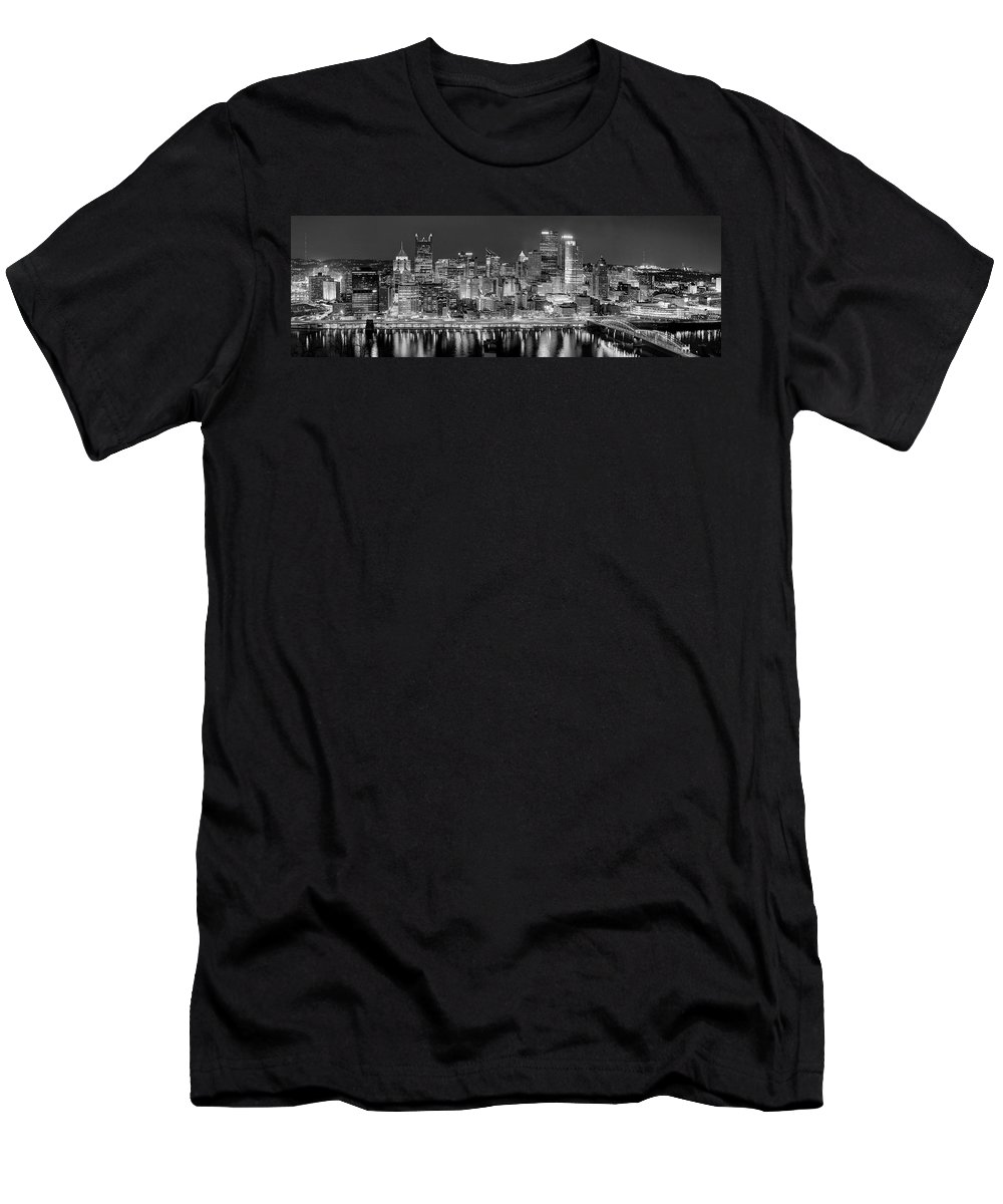 Pittsburgh Skyline At Night Men's T-Shirt (Athletic Fit) featuring the photograph Pittsburgh Pennsylvania Skyline At Night Panorama by Jon Holiday