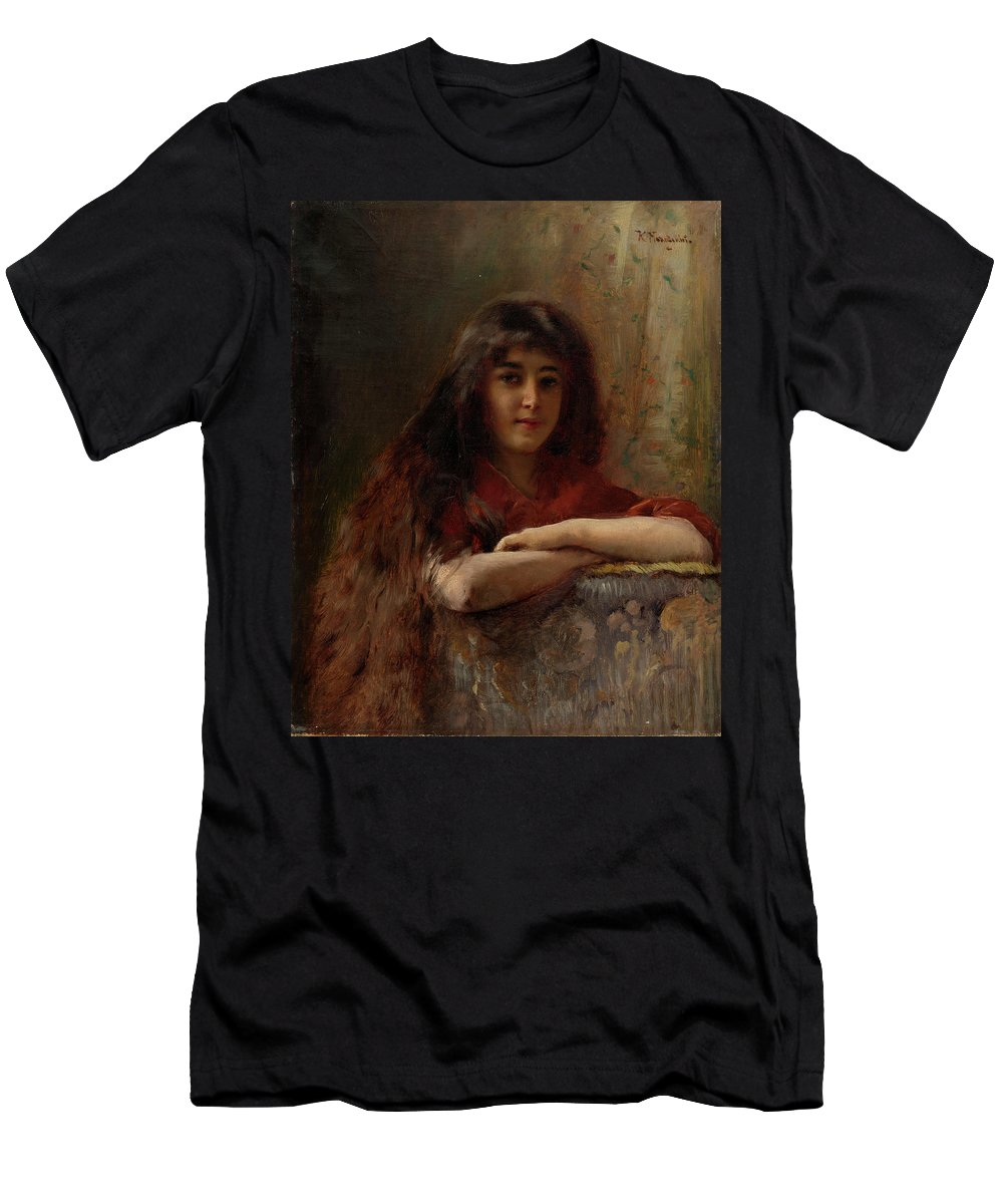 Makovsky Men's T-Shirt (Athletic Fit) featuring the painting Portrait Of A Young Girl by MotionAge Designs
