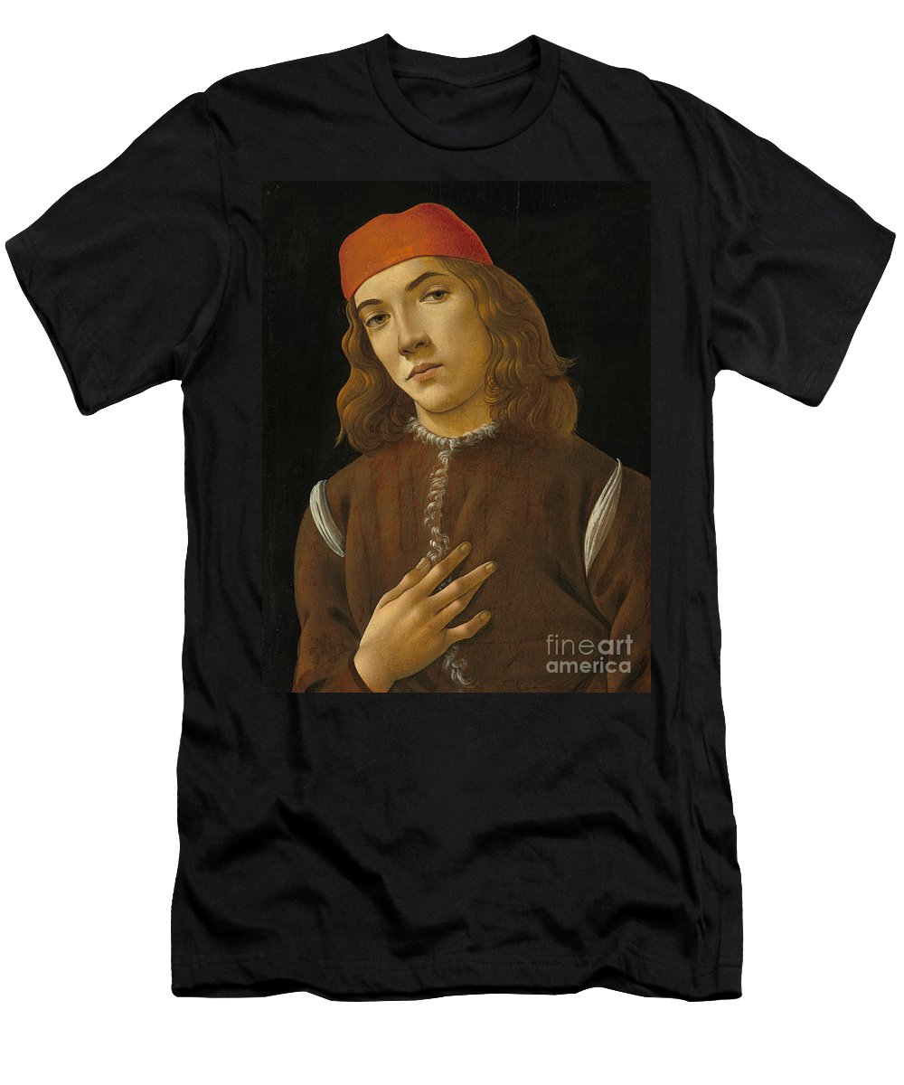 Portrait Of A Youth Men's T-Shirt (Athletic Fit) featuring the painting Portrait Of A Youth by Sandro Botticelli
