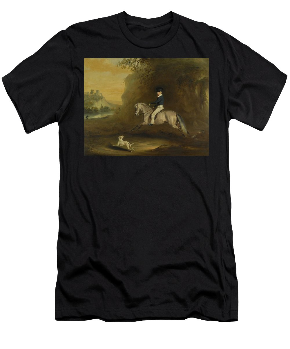 John Ferneley Snr. Portrait Of George Augustus Frederick Cavendish-bentinck () Men's T-Shirt (Athletic Fit) featuring the painting Portrait Of George by MotionAge Designs