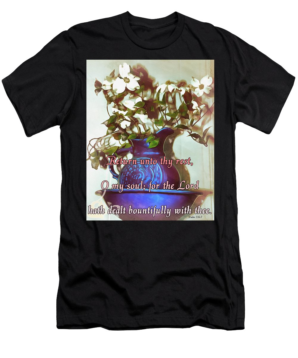 Jesus Men's T-Shirt (Athletic Fit) featuring the digital art Psalm 116 7 by Michelle Greene Wheeler