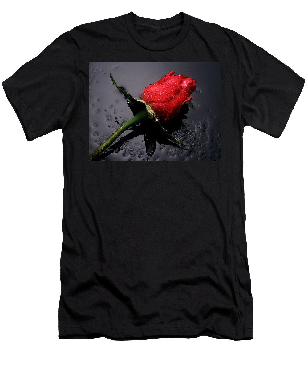 6807770-red-flowers Men's T-Shirt (Athletic Fit) featuring the digital art Red Flowers by Marry Logan