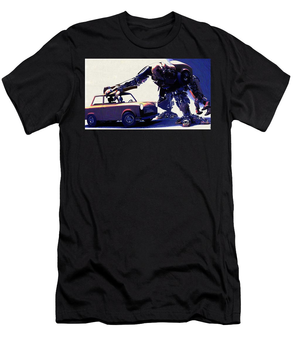 Robot Men's T-Shirt (Athletic Fit) featuring the digital art Robot by Lora Battle
