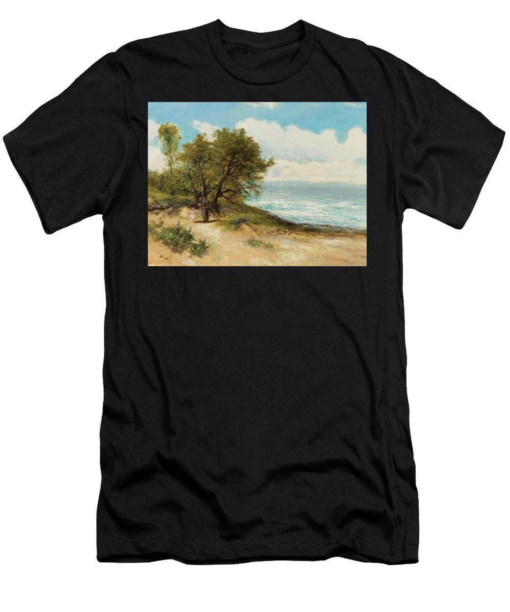 Daniel Sherrin Men's T-Shirt (Athletic Fit) featuring the painting Seaside by MotionAge Designs
