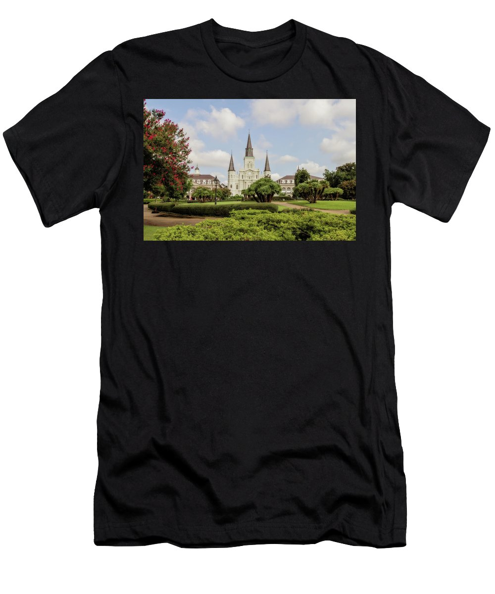 St. Louis Cathedral Men's T-Shirt (Athletic Fit) featuring the photograph St. Louis Cathedral by Scott Pellegrin