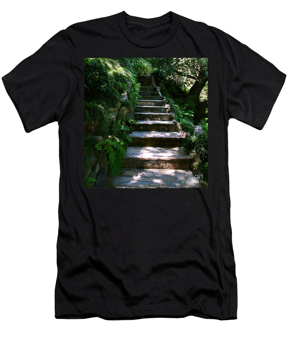 Nature Men's T-Shirt (Athletic Fit) featuring the photograph Stone Steps by Dean Triolo