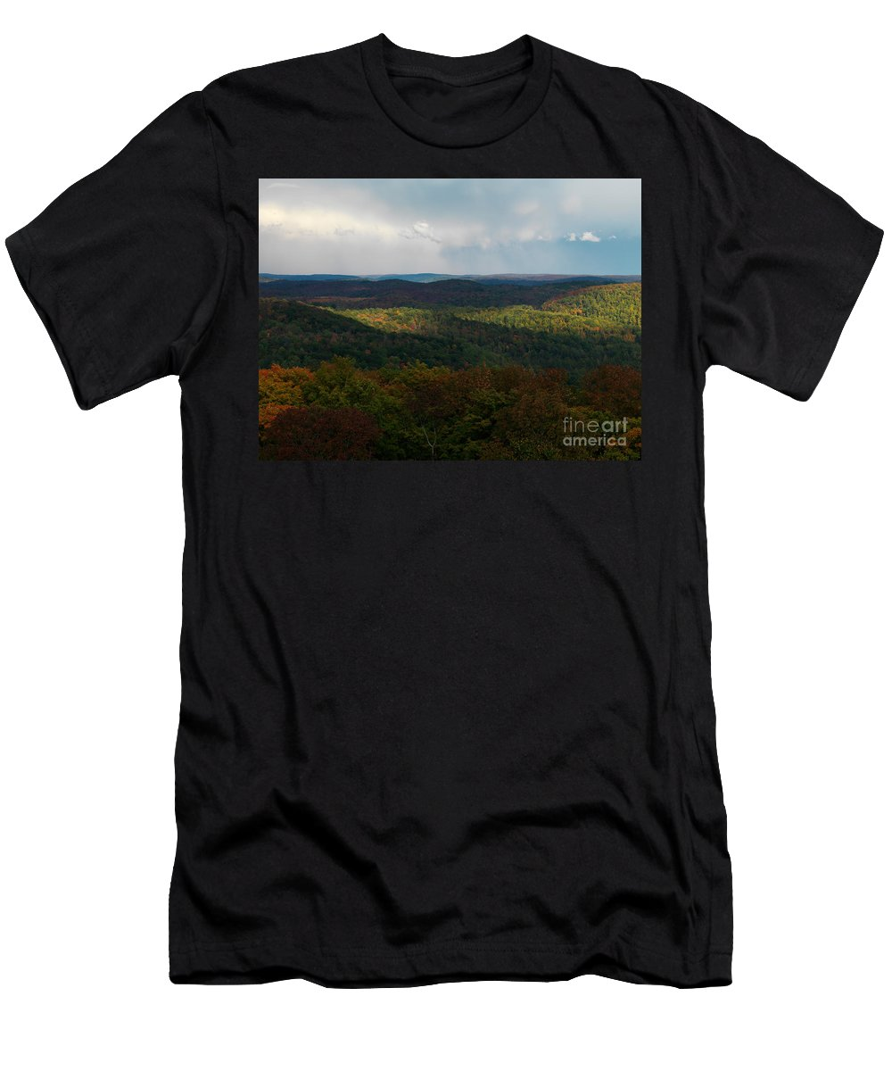 Autumn Men's T-Shirt (Athletic Fit) featuring the photograph Storm Clouds Over Fall Nature Scenery by Oleksiy Maksymenko