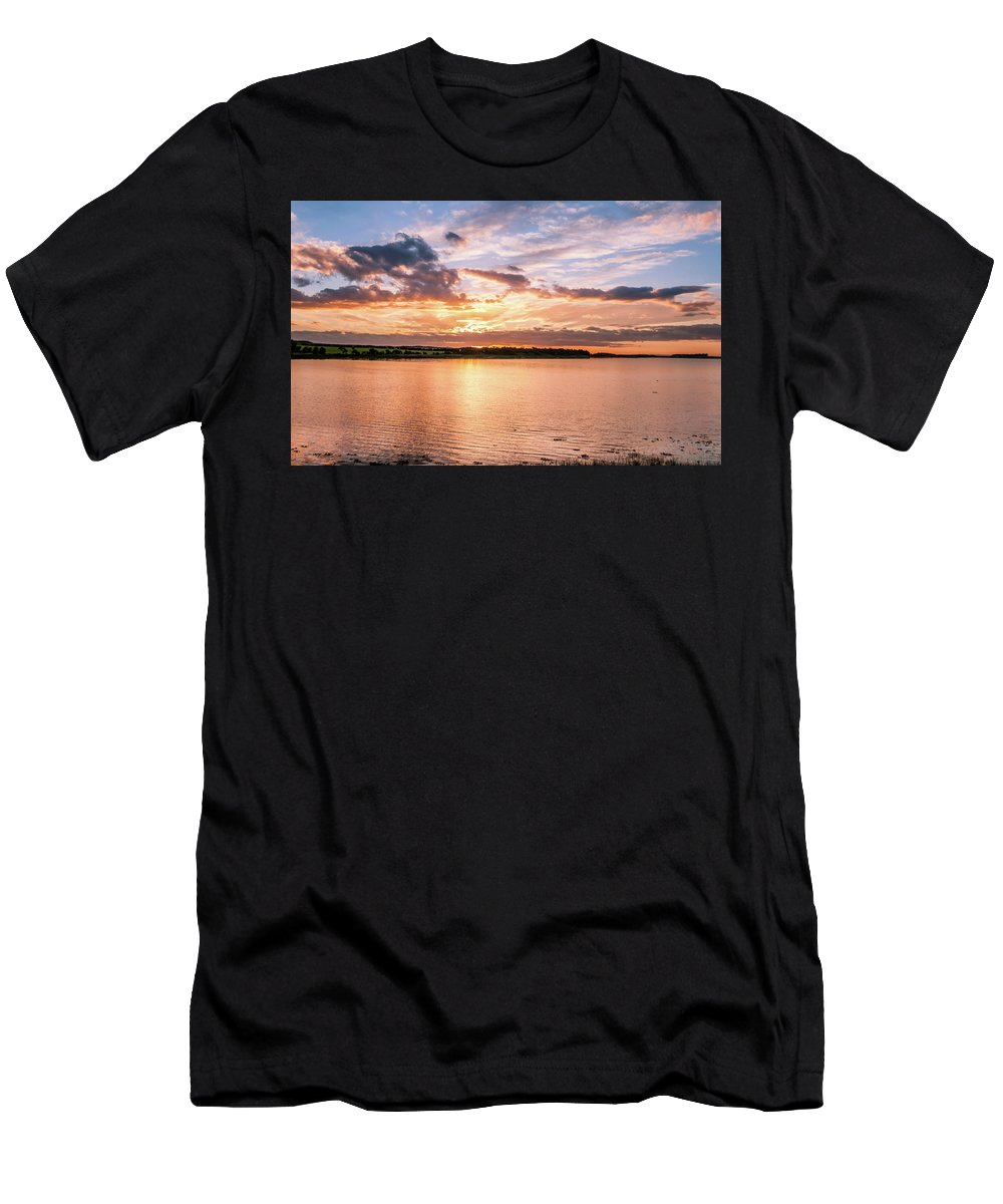 Budle Bay Seascape Men's T-Shirt (Athletic Fit) featuring the photograph Sunset Over The Bay.......... by Naylors Photography