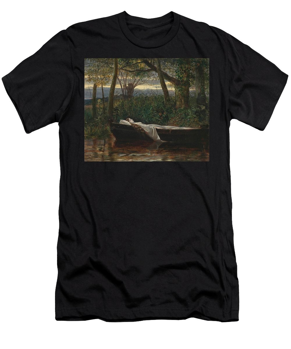 Walter Crane The Lady Of Shalott 1862 Men's T-Shirt (Athletic Fit) featuring the painting The Lady Of Shalott by MotionAge Designs