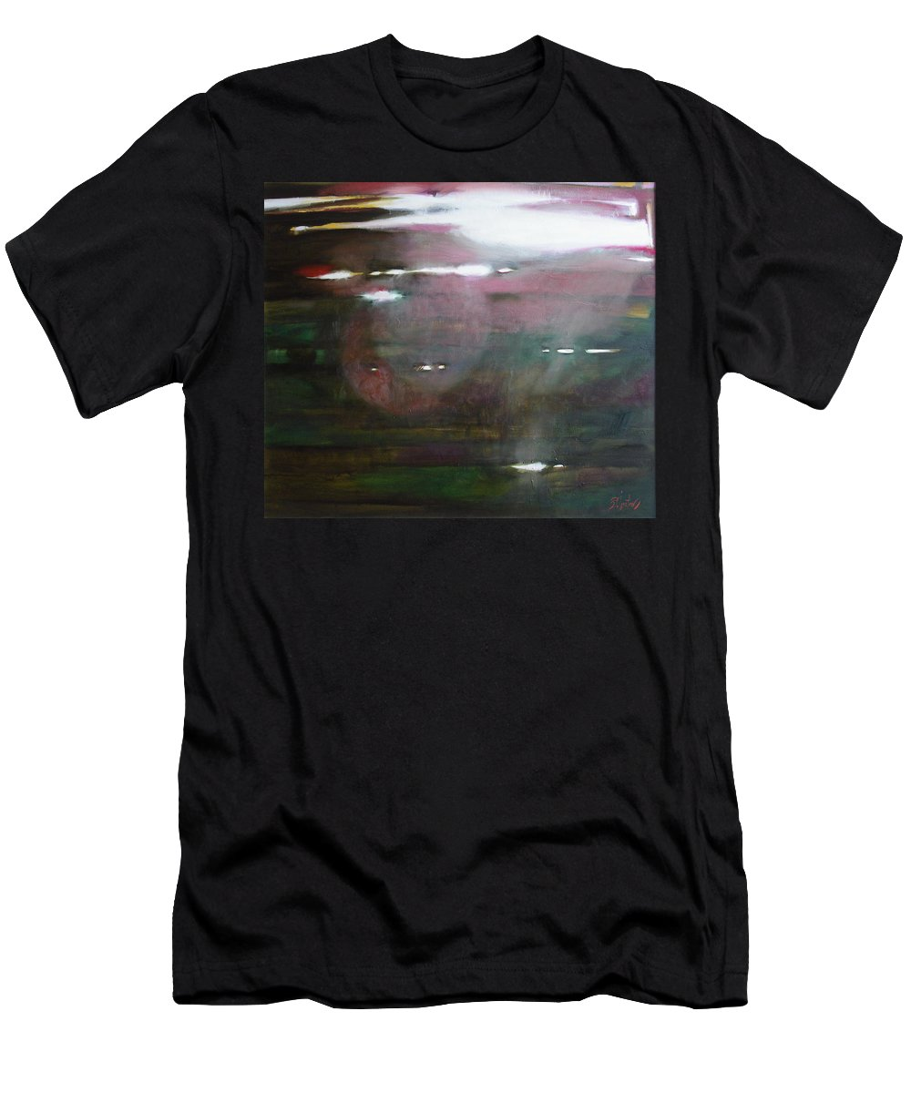Oil Men's T-Shirt (Athletic Fit) featuring the painting The Parallel World by Sergey Ignatenko