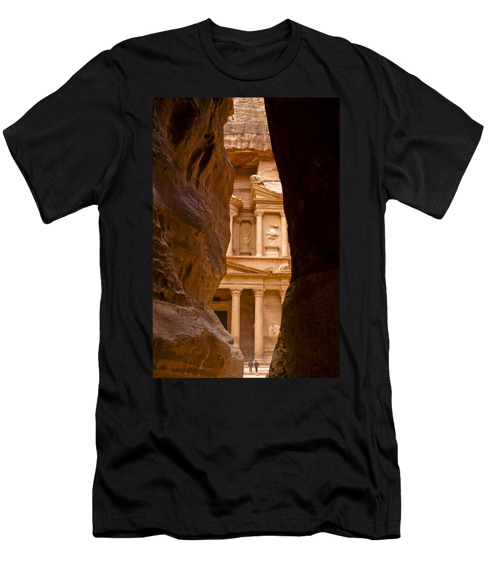 Middle East Men's T-Shirt (Athletic Fit) featuring the photograph The Treasury Of Petra by Michele Burgess