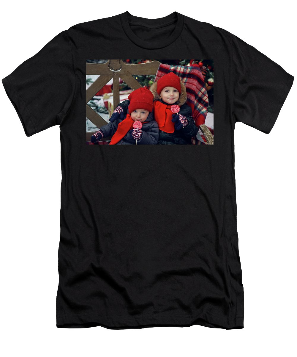 Boy Men's T-Shirt (Athletic Fit) featuring the photograph Two Children Sitting On A Bench With Candy by Elena Saulich