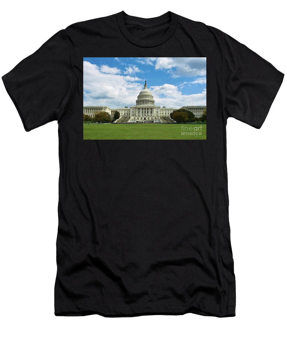 Congress Men's T-Shirt (Athletic Fit) featuring the photograph Us Capitol Washington Dc Negative by Kimberly Blom-Roemer