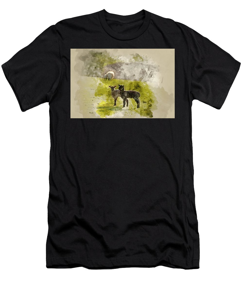 Landscape Men's T-Shirt (Athletic Fit) featuring the photograph Watercolor Painting Of Beauitful Landscape Image Of Newborn Spri by Matthew Gibson