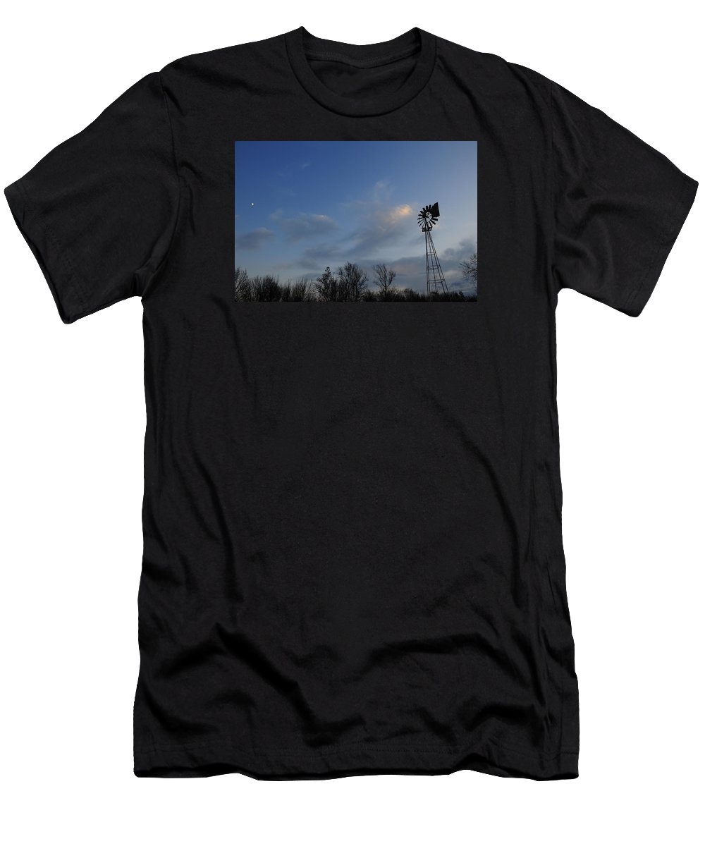 Moon Men's T-Shirt (Athletic Fit) featuring the photograph Windmill At Dusk by David Arment
