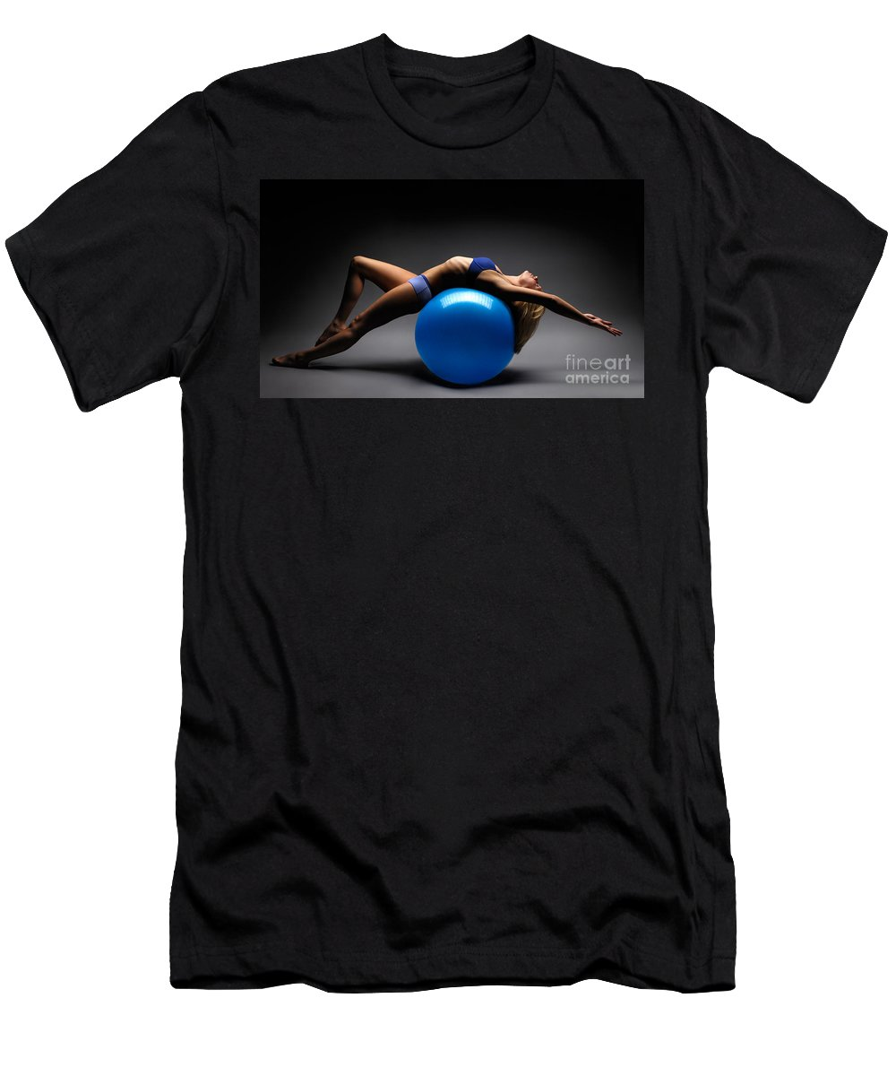 Woman Men's T-Shirt (Athletic Fit) featuring the photograph Woman On A Ball by Oleksiy Maksymenko