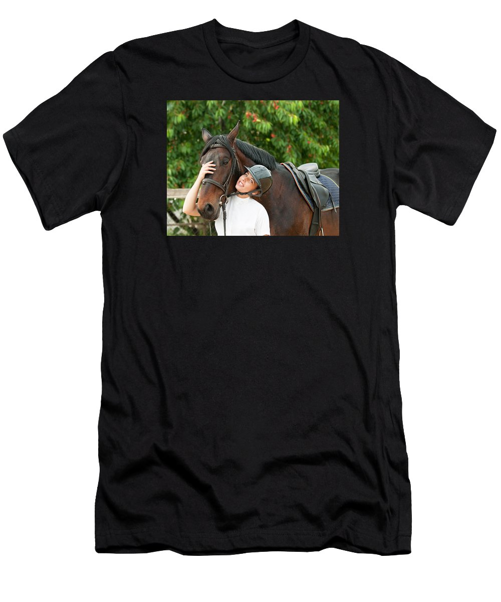 Jockey Men's T-Shirt (Athletic Fit) featuring the photograph Woman Rider And Horse 2 by Boyan Dimitrov